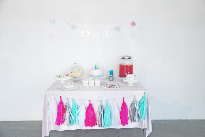 Party table from a Glam Frozen Themed Birthday Party via Kara's Party Ideas KarasPartyIdeas.com (7)