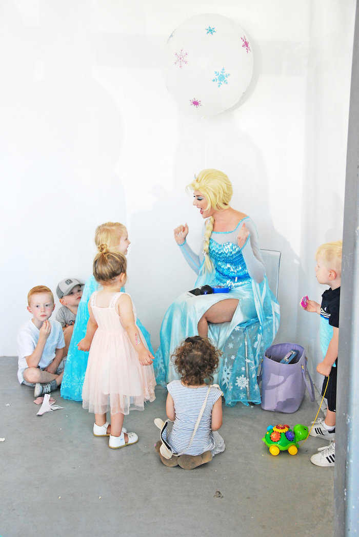 Elsa & children from a Glam Frozen Themed Birthday Party via Kara's Party Ideas KarasPartyIdeas.com (4)