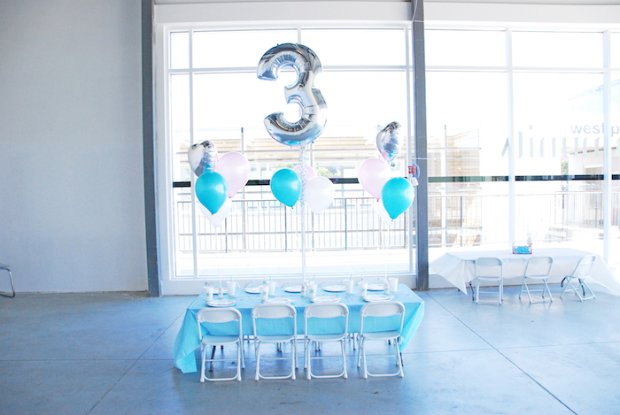 Kids party table from a Glam Frozen Themed Birthday Party via Kara's Party Ideas KarasPartyIdeas.com (21)
