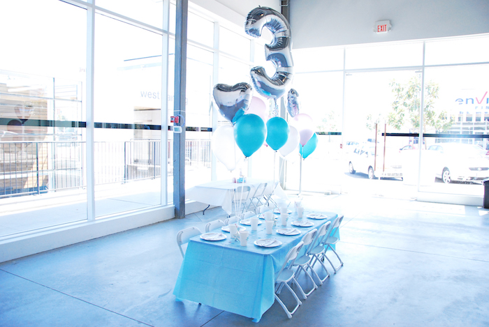 Glam party table from a Glam Frozen Themed Birthday Party via Kara's Party Ideas KarasPartyIdeas.com (20)