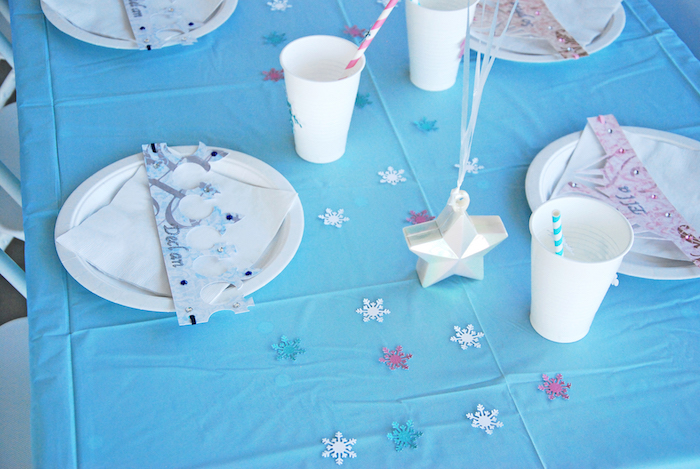 Place settings from a Glam Frozen Themed Birthday Party via Kara's Party Ideas KarasPartyIdeas.com (17)