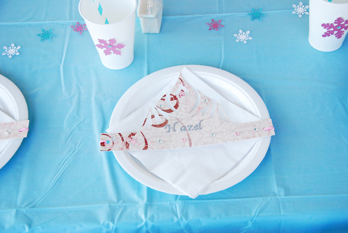 Place setting from a Glam Frozen Themed Birthday Party via Kara's Party Ideas KarasPartyIdeas.com (16)