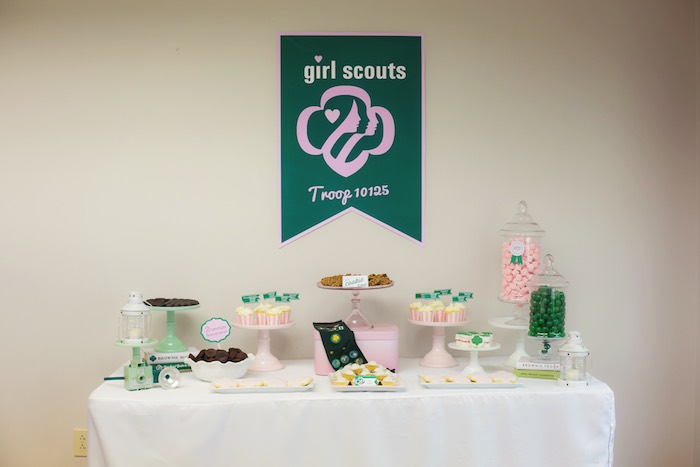 Dessert table form a Glam Girl Scout Mother Daughter Luncheon via Kara's Party Ideas | KarasPartyIdeas.com (29)