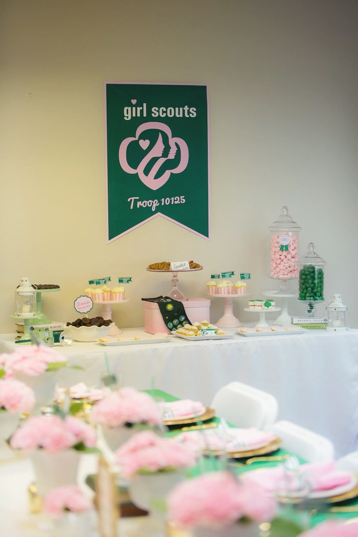 Dessert table from a Glam Girl Scout Mother Daughter Luncheon via Kara's Party Ideas | KarasPartyIdeas.com (27)