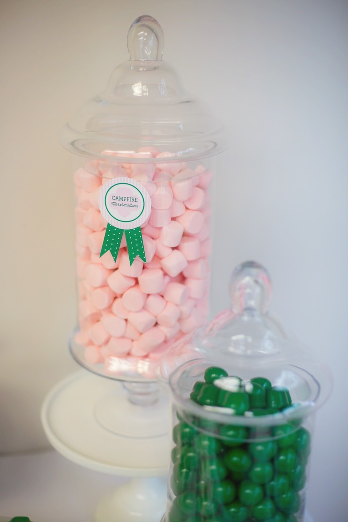 Marshmallows + gumballs in apothecary jars from a Glam Girl Scout Mother Daughter Luncheon via Kara's Party Ideas | KarasPartyIdeas.com (26)