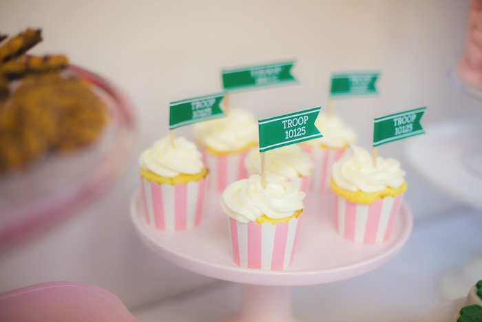 Cupcakes from a Glam Girl Scout Mother Daughter Luncheon via Kara's Party Ideas | KarasPartyIdeas.com (23)
