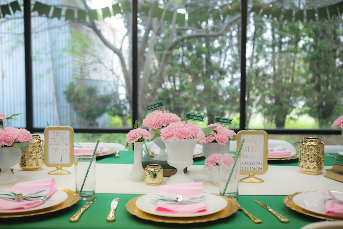 Dining table from a Glam Girl Scout Mother Daughter Luncheon via Kara's Party Ideas | KarasPartyIdeas.com (39)