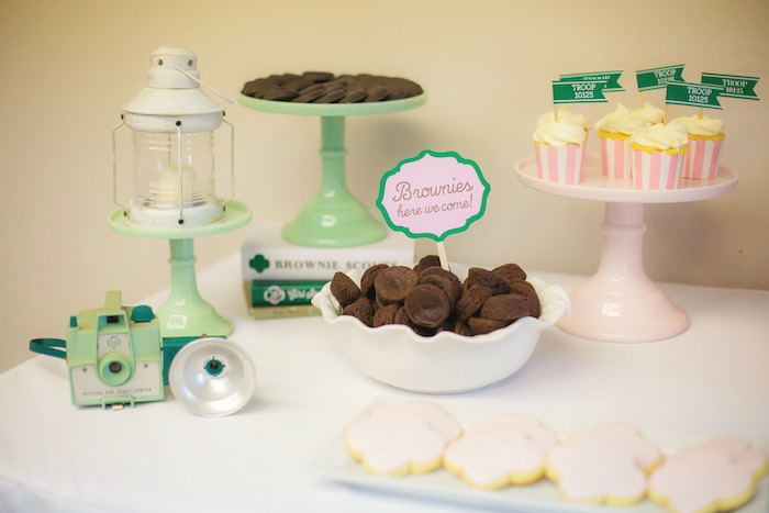 Dessert table details from a Glam Girl Scout Mother Daughter Luncheon via Kara's Party Ideas | KarasPartyIdeas.com (19)