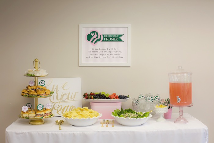 Food & beverage table from a Glam Girl Scout Mother Daughter Luncheon via Kara's Party Ideas | KarasPartyIdeas.com (18)
