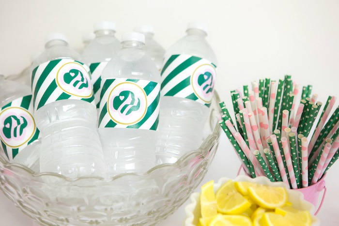 Water bottles + paper straws from a Glam Girl Scout Mother Daughter Luncheon via Kara's Party Ideas | KarasPartyIdeas.com (16)