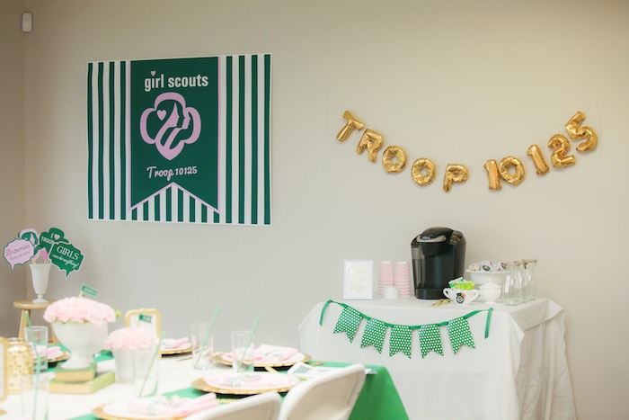 Tables + decor from a Glam Girl Scout Mother Daughter Luncheon via Kara's Party Ideas | KarasPartyIdeas.com (15)