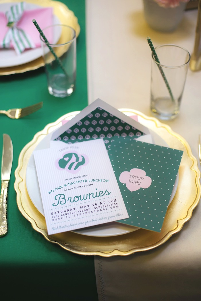 Invitation stationery from a Glam Girl Scout Mother Daughter Luncheon via Kara's Party Ideas | KarasPartyIdeas.com (14)