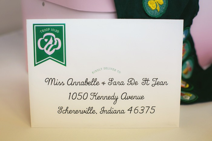 Invitation envelope + stationery from a Glam Girl Scout Mother Daughter Luncheon via Kara's Party Ideas | KarasPartyIdeas.com (13)