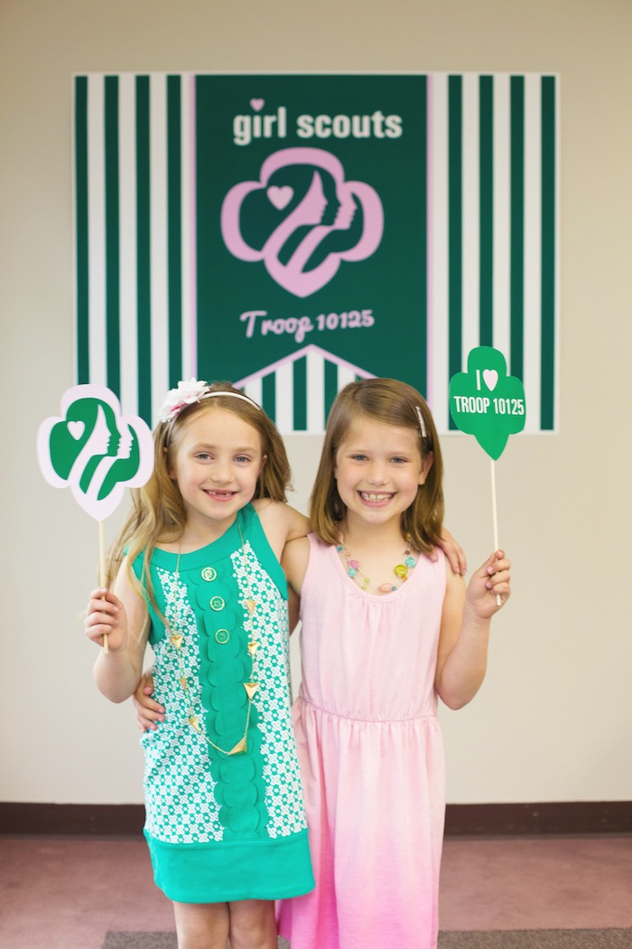 Girl Scout Photo Op from a Glam Girl Scout Mother Daughter Luncheon via Kara's Party Ideas | KarasPartyIdeas.com (11)