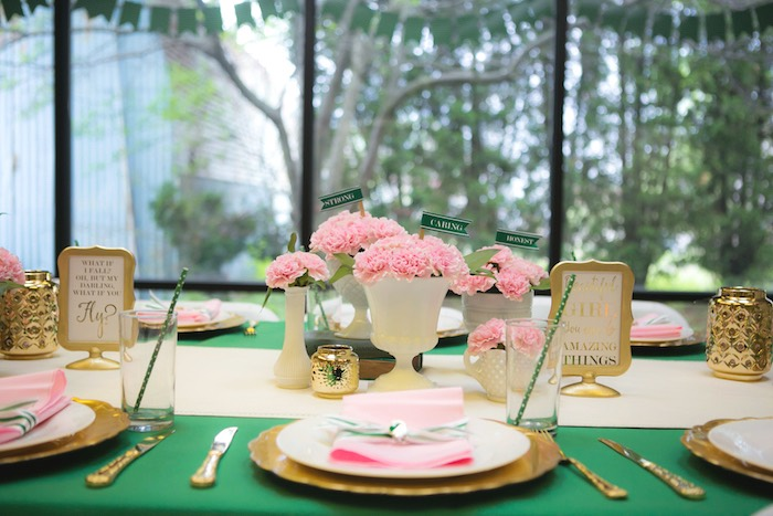 Dining table details from a Glam Girl Scout Mother Daughter Luncheon via Kara's Party Ideas | KarasPartyIdeas.com (38)