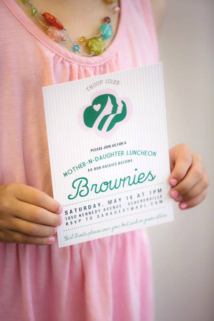 Brownie Luncheon Invitation from a Glam Girl Scout Mother Daughter Luncheon via Kara's Party Ideas | KarasPartyIdeas.com (7)