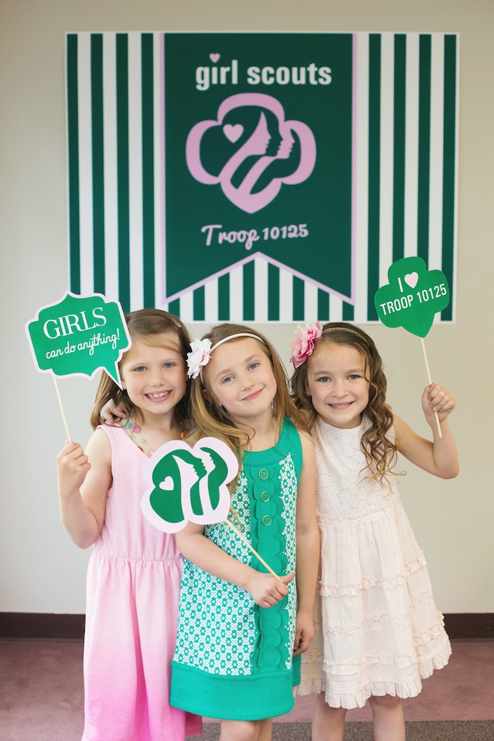 Photo booth fun from a Glam Girl Scout Mother Daughter Luncheon via Kara's Party Ideas | KarasPartyIdeas.com (5)