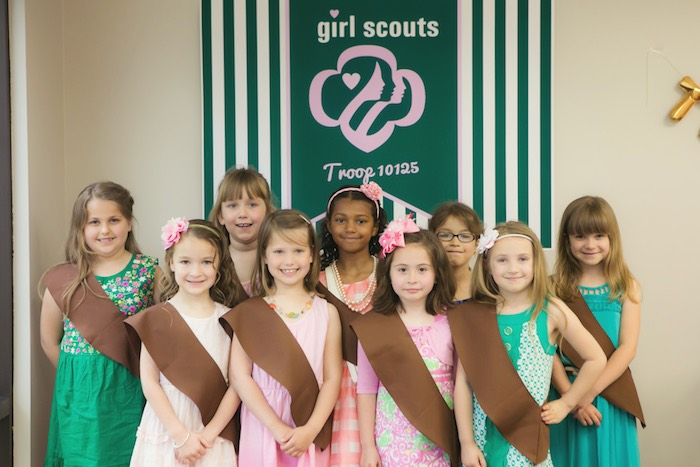 Girl Scouts from a Glam Girl Scout Mother Daughter Luncheon via Kara's Party Ideas | KarasPartyIdeas.com (4)