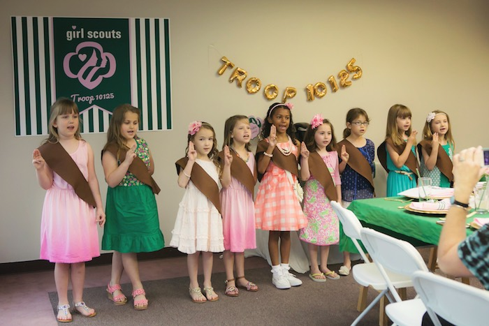 Girl Scouts from a Glam Girl Scout Mother Daughter Luncheon via Kara's Party Ideas | KarasPartyIdeas.com (2)