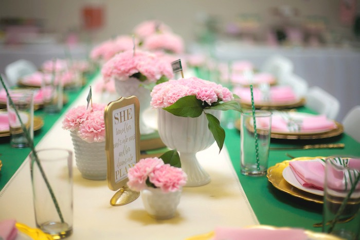 Dining table decor from a Glam Girl Scout Mother Daughter Luncheon via Kara's Party Ideas | KarasPartyIdeas.com (36)