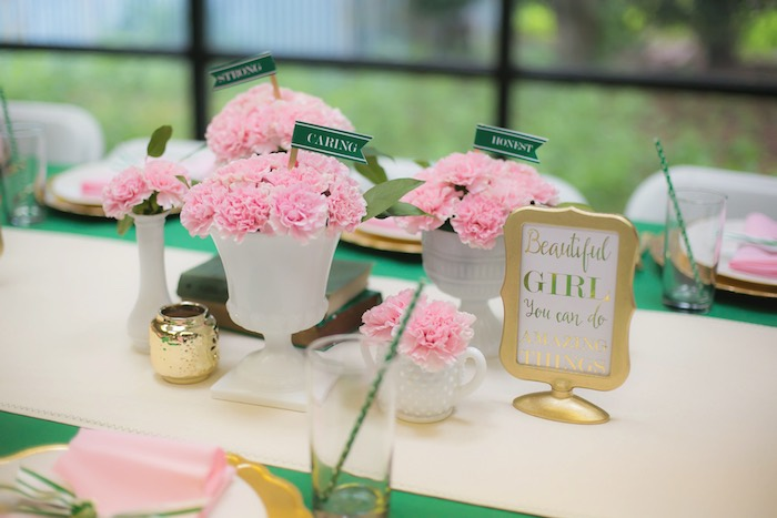 Dining table decor from a Glam Girl Scout Mother Daughter Luncheon via Kara's Party Ideas | KarasPartyIdeas.com (34)