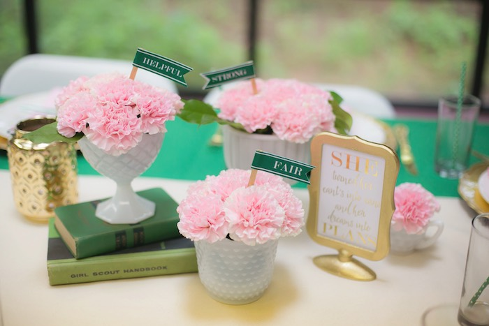 Dining table decor from a Glam Girl Scout Mother Daughter Luncheon via Kara's Party Ideas | KarasPartyIdeas.com (33)