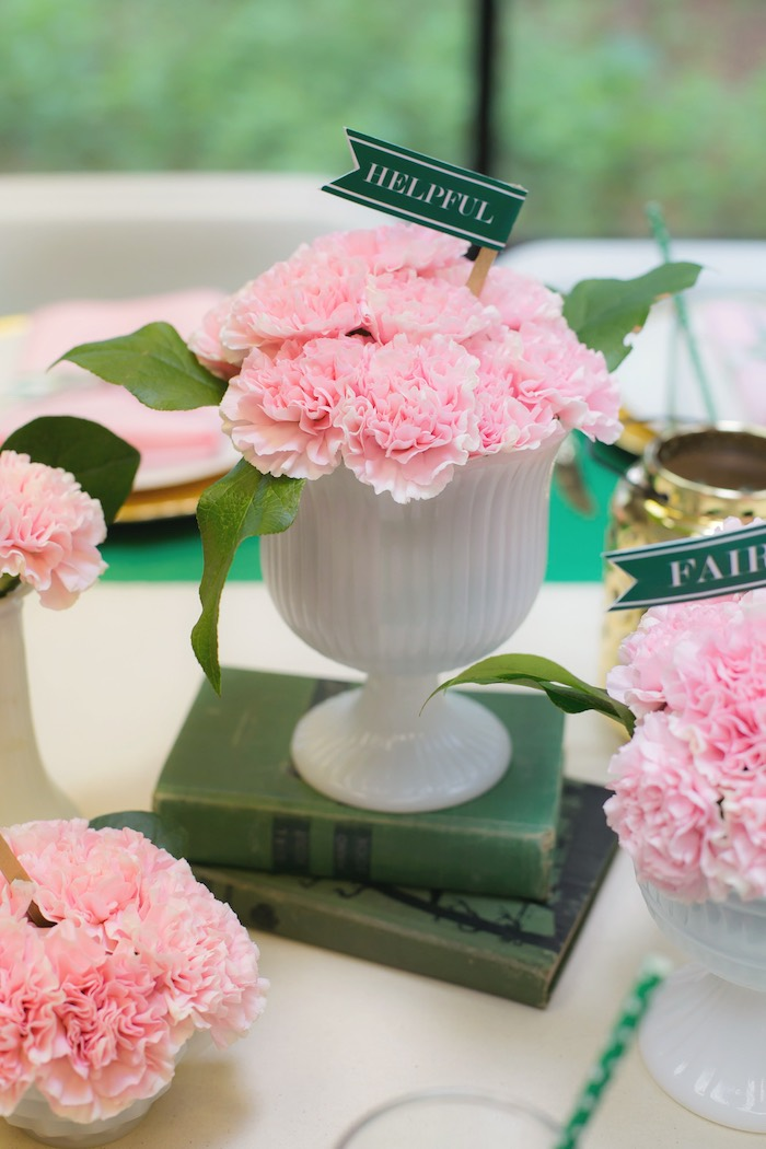 Pink flower centerpieces from a Glam Girl Scout Mother Daughter Luncheon via Kara's Party Ideas | KarasPartyIdeas.com (32)