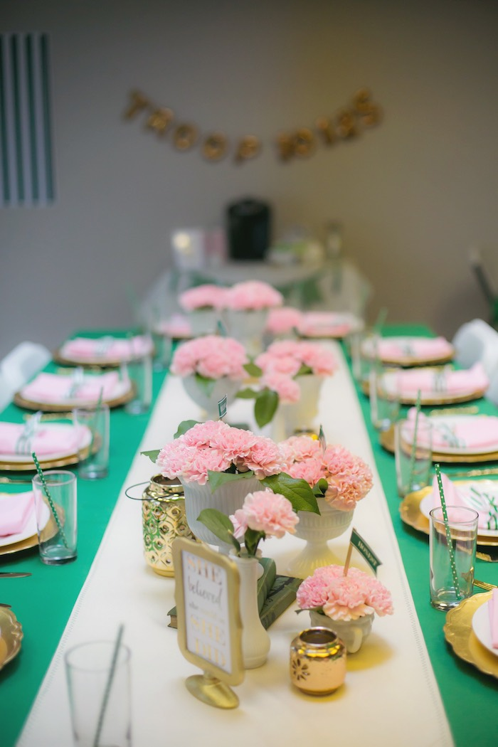 Dining tablescape from a Glam Girl Scout Mother Daughter Luncheon via Kara's Party Ideas | KarasPartyIdeas.com (31)