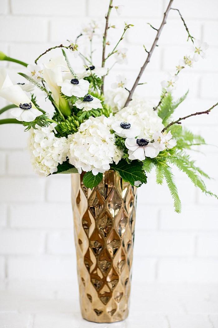 Floral centerpiece from a Glamorous Hollywood Oscar Party via Kara's Party Ideas | KarasPartyIdeas.com (15)