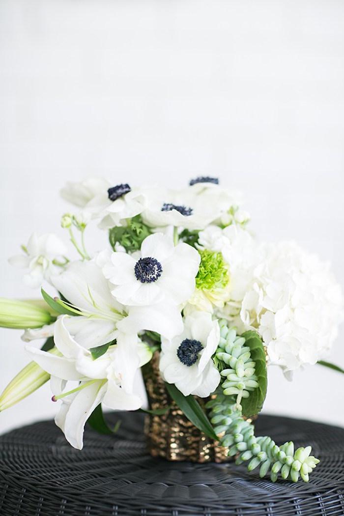 White floral arrangement from a Glamorous Hollywood Oscar Party via Kara's Party Ideas | KarasPartyIdeas.com (14)