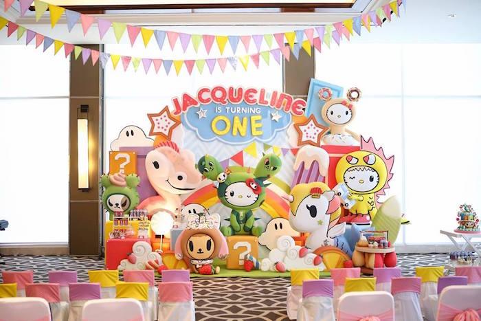 Party space from a Hello Kitty Tokidoki Themed Birthday Party via Kara's Party Ideas   KarasPartyIdeas.com (14)