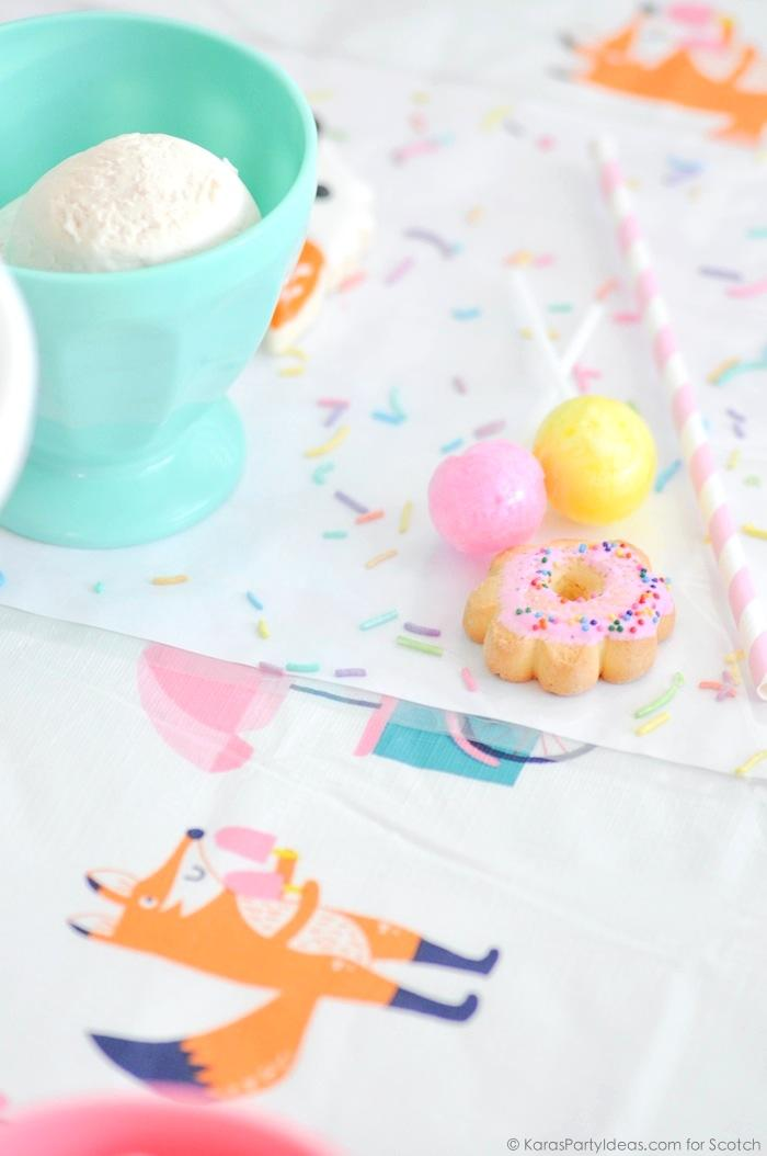 Ice Cream + Fox Party with DIY Sprinkles Place Mats! By Kara Allen | Kara's Party Ideas for Scotch Brand-12