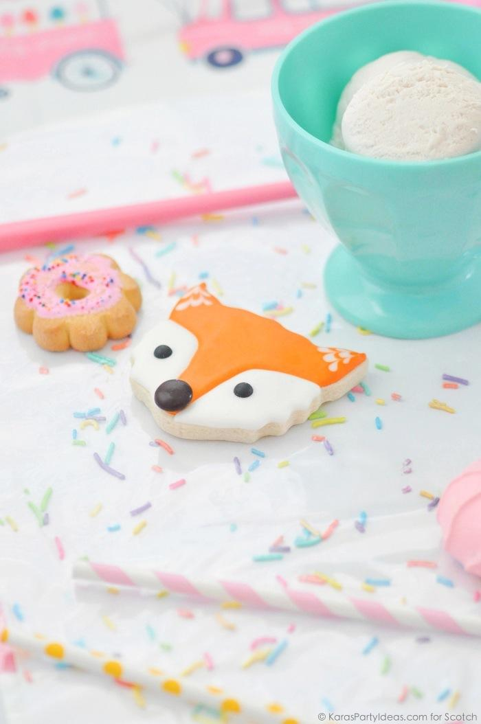 Ice Cream + Fox Party with DIY Sprinkles Place Mats! By Kara Allen | Kara's Party Ideas for Scotch Brand-15