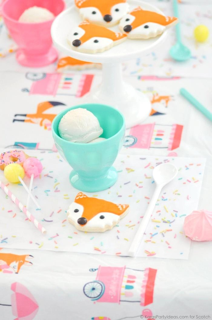 Ice Cream + Fox Party with DIY Sprinkles Place Mats! By Kara Allen | Kara's Party Ideas for Scotch Brand