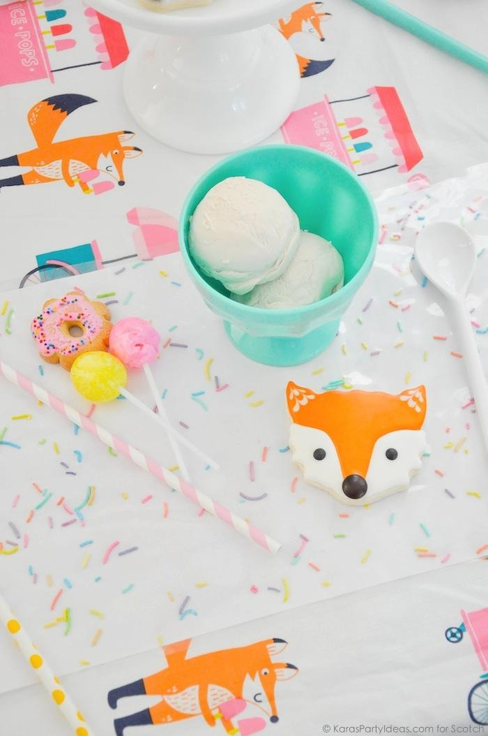 Ice Cream + Fox Party with DIY Sprinkles Place Mats! By Kara Allen | Kara's Party Ideas for Scotch Brand-27