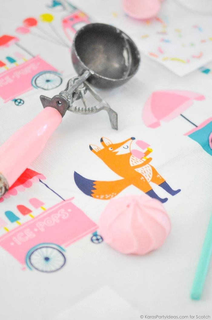 Ice Cream + Fox Party with DIY Sprinkles Place Mats! By Kara Allen | Kara's Party Ideas for Scotch Brand-30