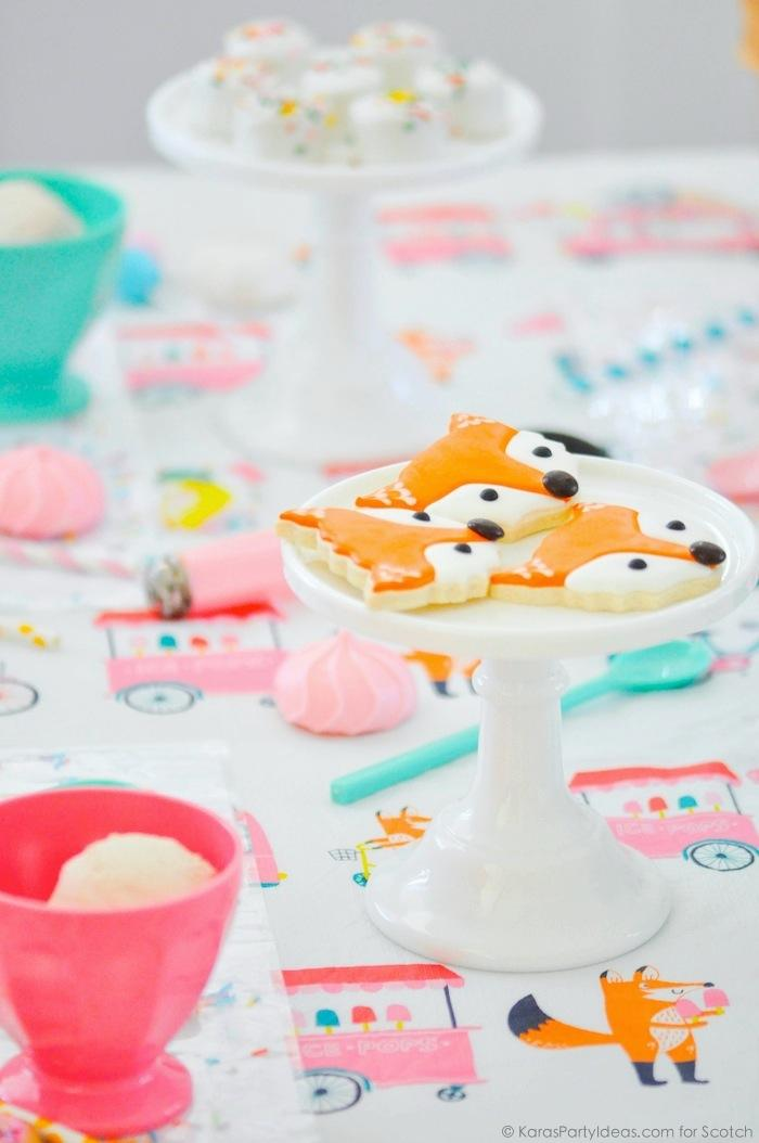 Ice Cream + Fox Party with DIY Sprinkles Place Mats! By Kara Allen | Kara's Party Ideas for Scotch Brand-32