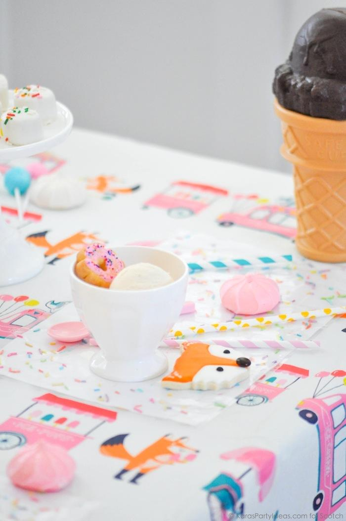 Ice Cream + Fox Party with DIY Sprinkles Place Mats! By Kara Allen | Kara's Party Ideas for Scotch Brand-33