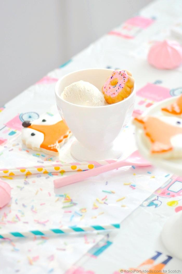 Ice Cream + Fox Party with DIY Sprinkles Place Mats! By Kara Allen | Kara's Party Ideas for Scotch Brand-9