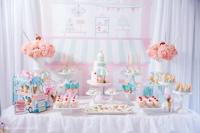 Darling dessert table from an Ice Cream Shop Birthday Party via Kara's Party Ideas KarasPartyIdeas.com (28)