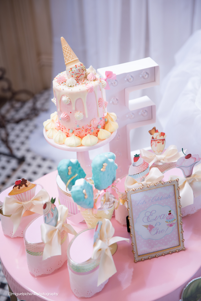 Smash cake table from an Ice Cream Shop Birthday Party via Kara's Party Ideas KarasPartyIdeas.com (27)