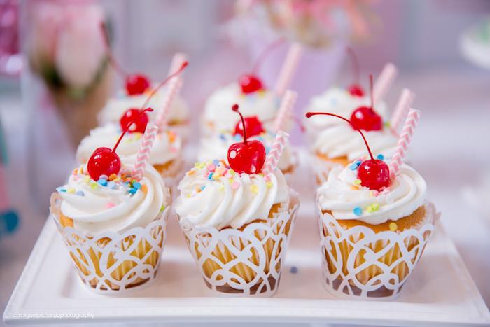 Ice cream sundae cupcakes from an Ice Cream Shop Birthday Party via Kara's Party Ideas KarasPartyIdeas.com (24)