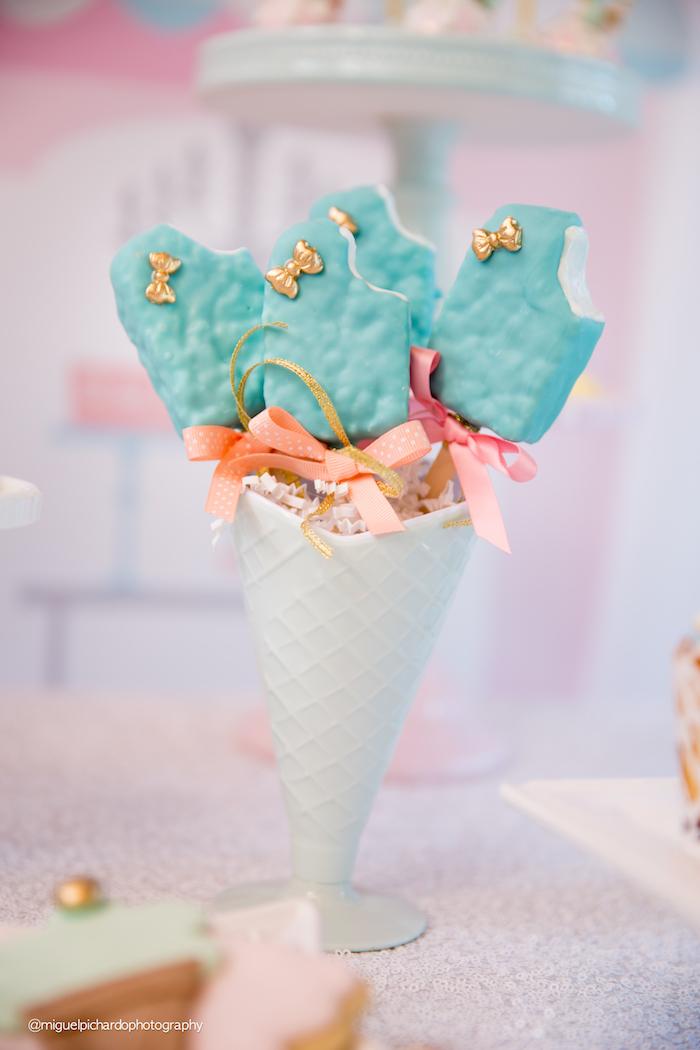 Ice Cream Bar Rice Krispie Treats from an Ice Cream Shop Birthday Party via Kara's Party Ideas KarasPartyIdeas.com (19)