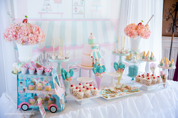 Sweet table detail from an Ice Cream Shop Birthday Party via Kara's Party Ideas KarasPartyIdeas.com (37)