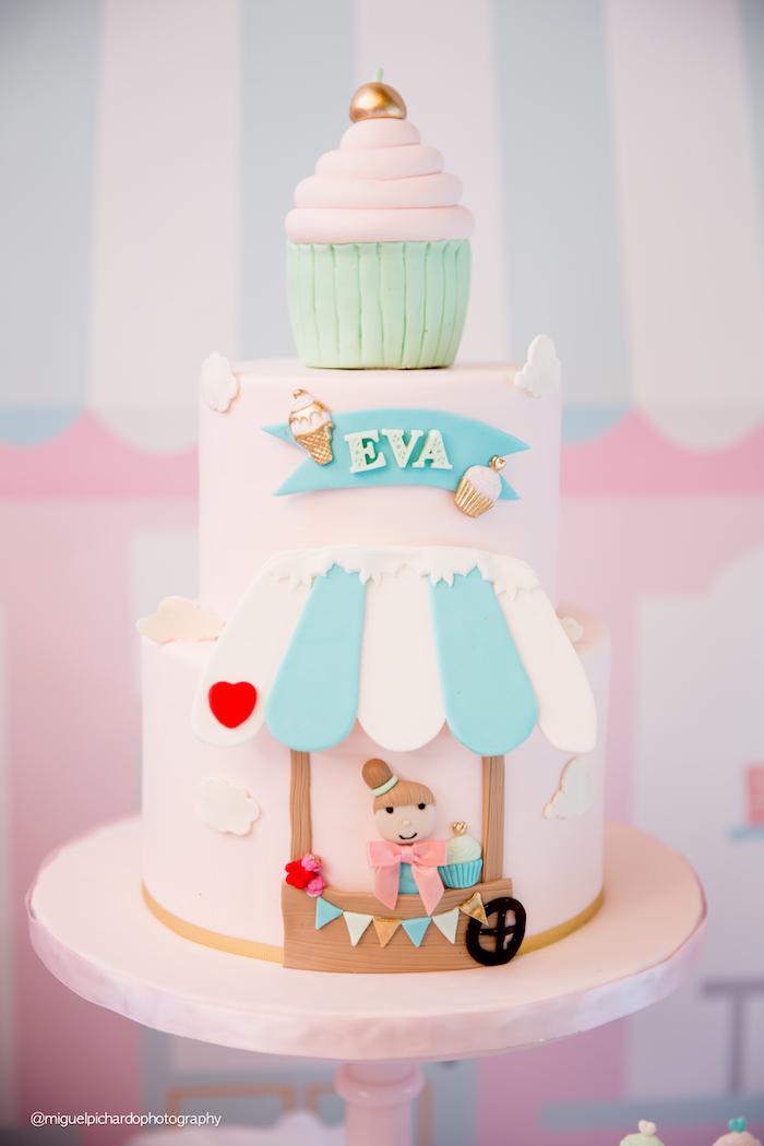 Adorable cake from an Ice Cream Shop Birthday Party via Kara's Party Ideas KarasPartyIdeas.com (18)
