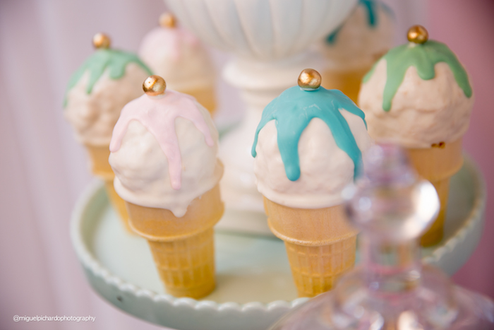 Ice cream cone pops from an Ice Cream Shop Birthday Party via Kara's Party Ideas KarasPartyIdeas.com (16)