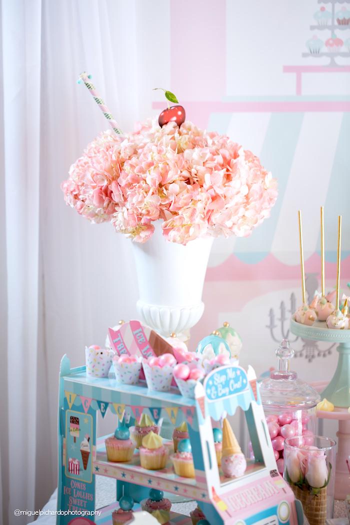 Ice cream sundae floral arrangement from an Ice Cream Shop Birthday Party via Kara's Party Ideas KarasPartyIdeas.com (13)