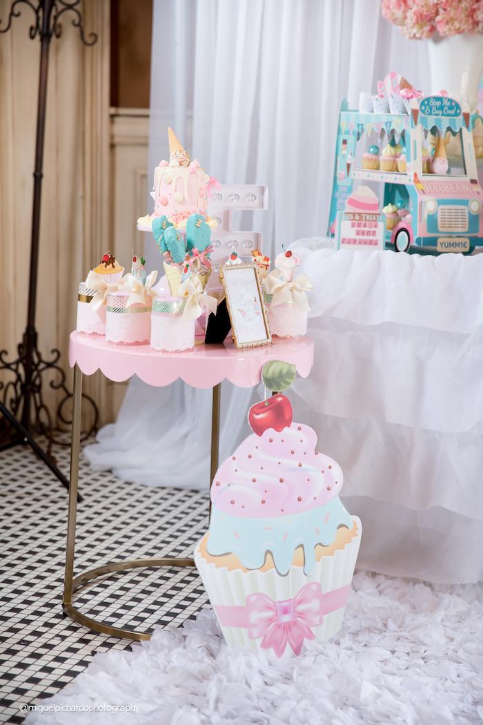 Mini party table from an Ice Cream Shop Birthday Party via Kara's Party Ideas KarasPartyIdeas.com (11)