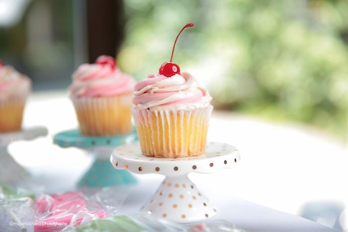 Cherry topped cupcake from an Ice Cream Shop Birthday Party via Kara's Party Ideas KarasPartyIdeas.com (7)