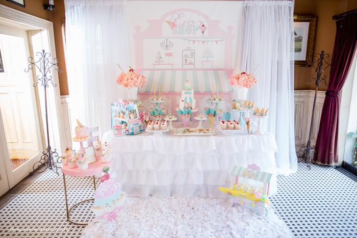 Adorable ice cream party setup from an Ice Cream Shop Birthday Party via Kara's Party Ideas KarasPartyIdeas.com (34)